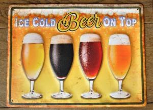groot bierbord ice cold beer on top