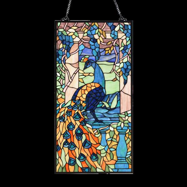 glaspaneel met blauwe pauw