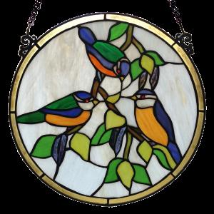 glaspaneel voorzetraam tiffany vogels birds