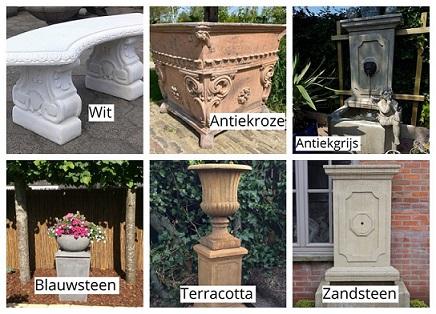 kleuruitvoeringen van betonnen vazen beelden fonteinen en sokkels