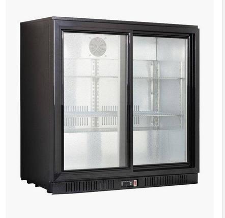 Koeling RVS-look, professionele koeling voor bar, barkoelkast, 2-deurs. Koeling met glasdeur