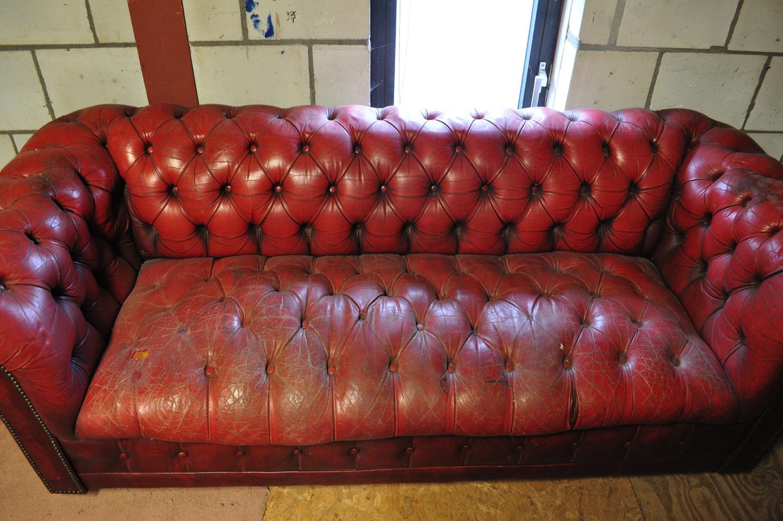 Leren Bank En.H7 117 Gecapitonneerde Leren Bank Rood Elmo Dreams Deco