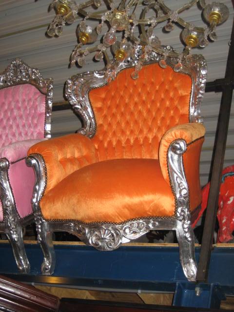 Barokstoel oranje/zilver