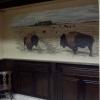 Lambrisering 3-paneel notenkleur met muurschildering