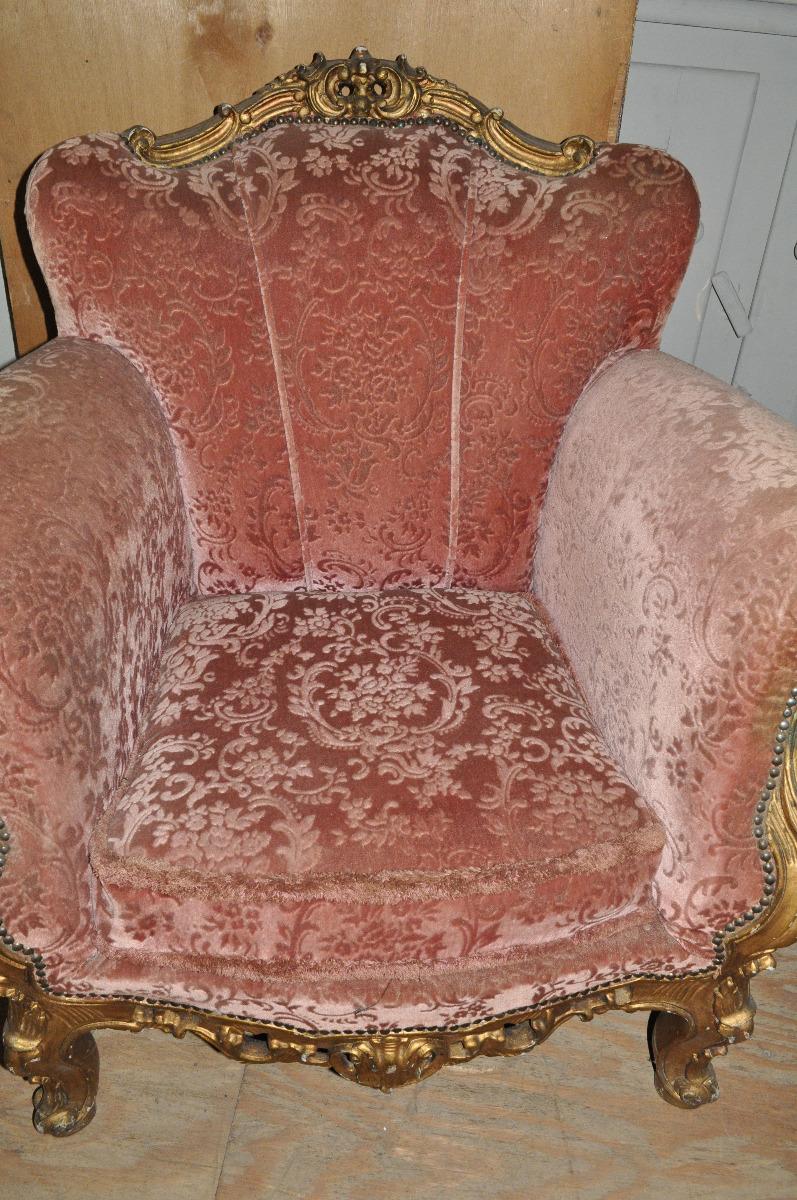 Antieke Barok Fauteuils.H7 180 Rode Brok Fauteuil Zachte Stof