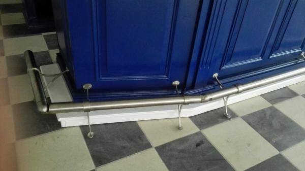 Blauw met wit Toog met RVS buis